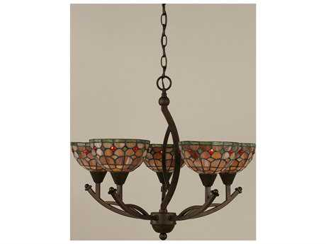 Toltec Lighting Bow Bronze & Rosetta Mini Tiffany Glass Five-Light 22.5'' Wide Mini-Chandelier