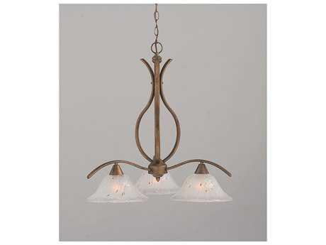 Toltec Lighting Swoop Bronze & Frosted Crystal Glass Three-Light 28.5'' Wide Chandelier