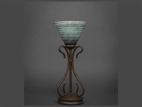 Toltec Lighting Swan Bronze with Charcoal Spiral Glass Table Lamp