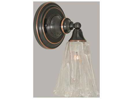 Toltec Lighting Black Copper & Italian Ice Glass Wall Sconce