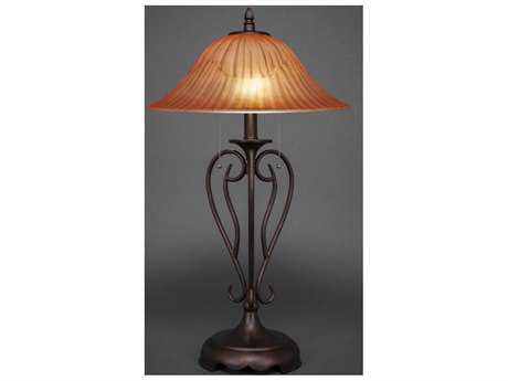 Toltec Lighting Olde Iron Bronze & Tiger Glass Two-Light Table Lamp