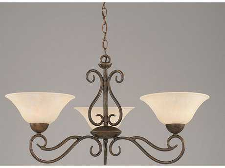 Toltec Lighting Olde Iron Bronze & Amber Marble Glass Three-Light 16'' Wide Mini-Chandelier