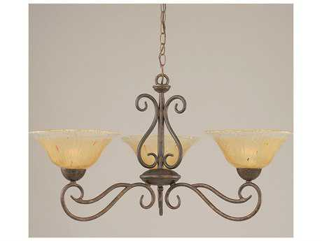 Toltec Lighting Olde Iron Bronze & Amber Crystal Glass Three-Light 31'' Wide Chandelier