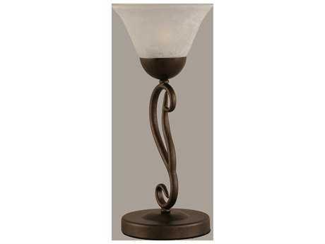Toltec Lighting Olde Iron Bronze & White Marble Glass Table Lamp