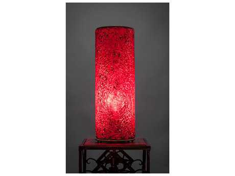 Toltec Lighting Table Lamp Red Fusion Glass