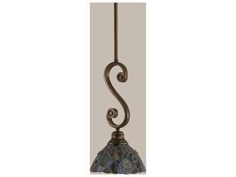 Toltec Lighting Curl Bronze & Blue Mosaic Mini Tiffany Glass Pendant