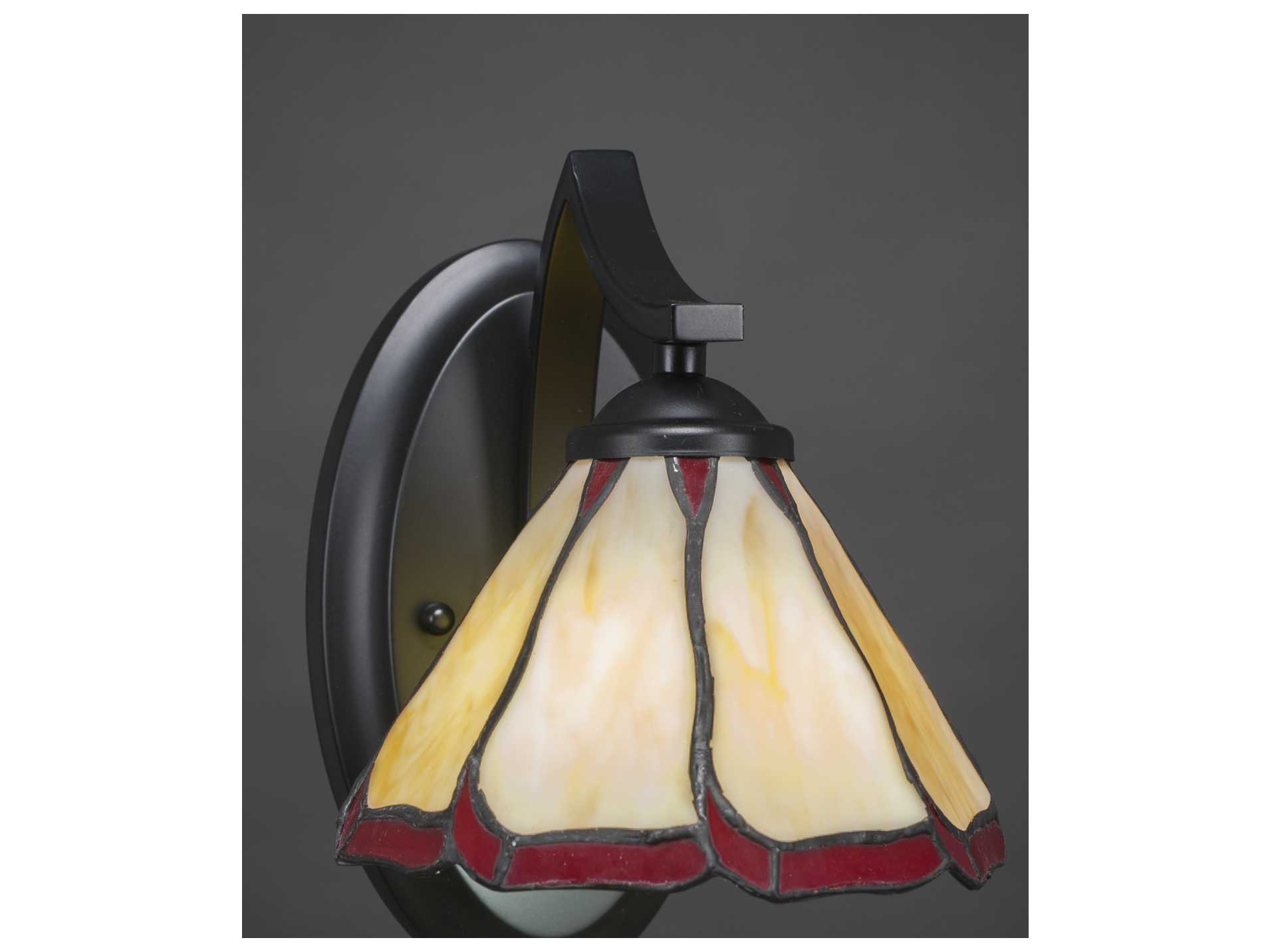 Toltec Lighting Zilo Matte Black with Honey & Burgundy Flair Tiffany Glass Wall Sconce