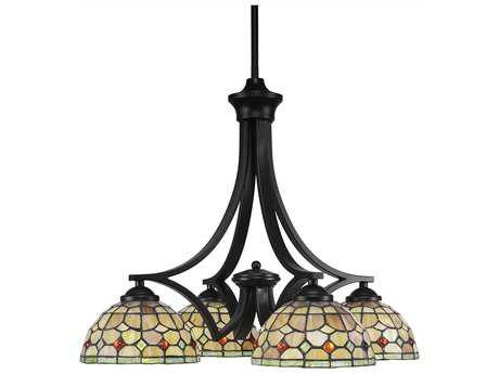 Toltec Lighting Zilo Matte Black with Rosetta Tiffany Glass Four-Light 19'' Wide Mini Chandelier