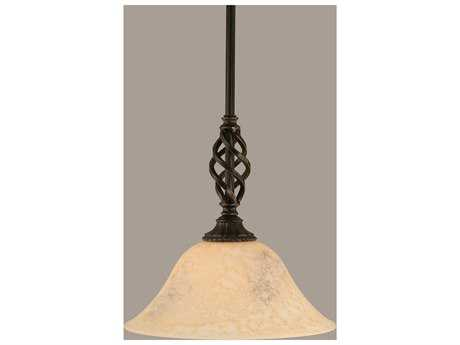 Toltec Lighting Elegante Dark Granite & Italian Marble Glass Mini-Pendant