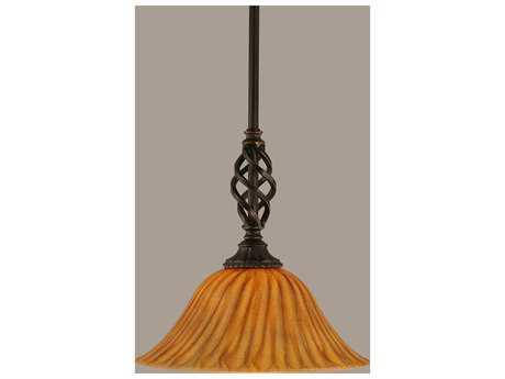 Toltec Lighting Elegante Dark Granite & Tiger Glass Mini-Pendant