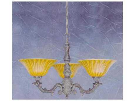 Toltec Lighting Olde Manor Bronze & Tiger Glass Three-Light 26.5'' Wide Chandelier