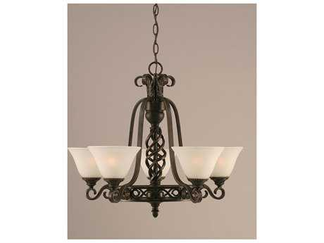 Toltec Lighting Elegante Dark Granite & White Marble Glass Five-Light 23.5'' Wide Mini-Chandelier