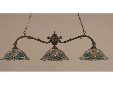 Toltec Lighting Octopus Bronze & Kaleidoscope Tiffany Glass Three-Light Island Light