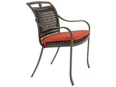 Tropitone Palladian Lattice Aluminum Wicker Dining Arm Chair with Seat Pad