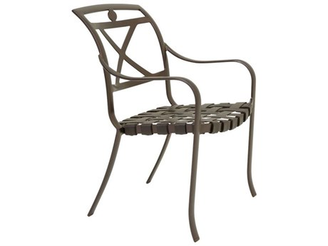 Tropitone Palladian X Back Aluminum Strap Dining Arm Chair