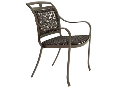 Tropitone Palladian Lattice Aluminum Wicker Dining Arm Chair