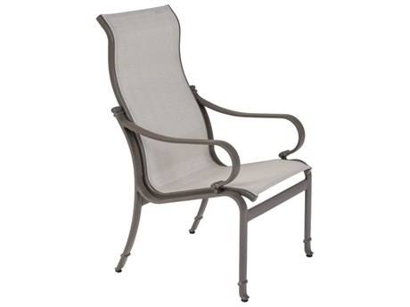 Tropitone Torino Sling Aluminum High Back Dining Arm Chair