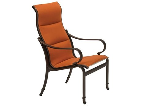 Tropitone Torino Padded Sling Aluminum High Back Dining Arm Chair