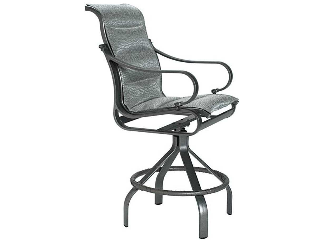 Tropitone torino padded sling aluminum swivel bar stool for Chaise longue torino