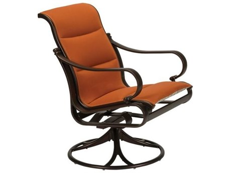 Tropitone Torino Padded Sling Aluminum Swivel Rocker Dining Arm Chair