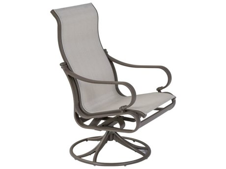 Tropitone Torino Sling Aluminum High Back Swivel Rocker Dining Arm Chair