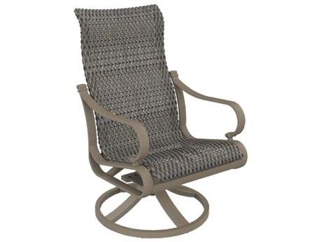 Tropitone Torino Woven Aluminum High Back Swivel Rocker Dining Arm Chair
