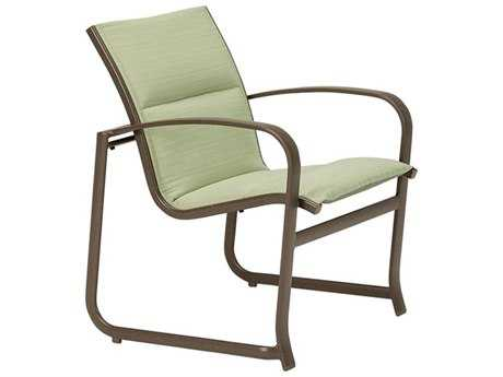 Tropitone Spinnaker Padded Sling Aluminum Stackable Dining Arm Chair