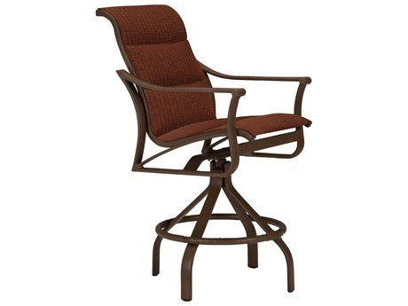 Tropitone Corsica Padded Sling Aluminum Arm Swivel Bar Stool