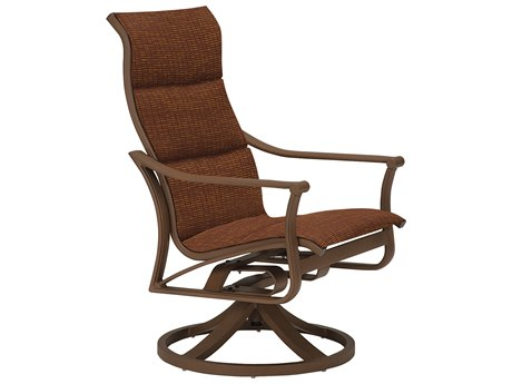Tropitone Corsica Padded Sling Aluminum High Back Arm Swivel Rocker Lounge Chair