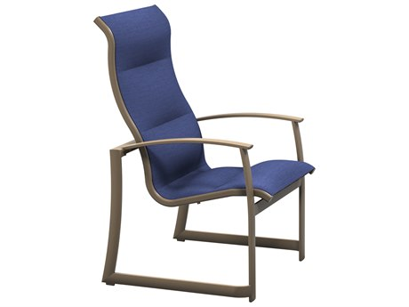 Tropitone Mainsail Padded Sling Aluminum High Back Dining Arm Chair