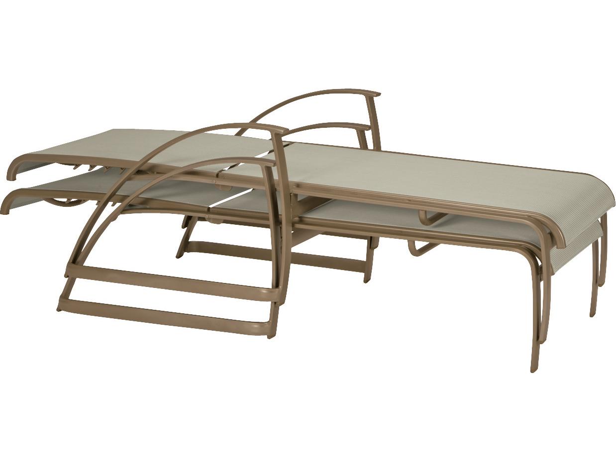 Tropitone mainsail sling aluminum double chaise lounge set for Aluminum chaise lounges