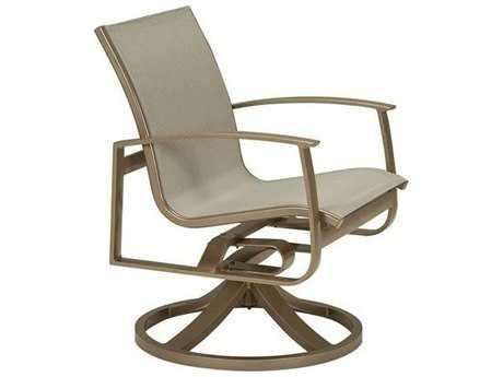 Tropitone Mainsail Sling Aluminum Swivel Rocker Dining Arm Chair