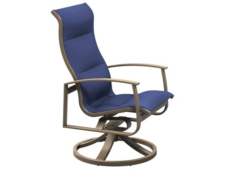 Tropitone Mainsail Padded Sling Aluminum High Back Swivel Rocker Dining Arm Chair