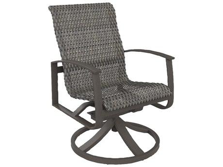 Tropitone Mainsail Woven Aluminum Swivel Rocker Dining Arm Chair