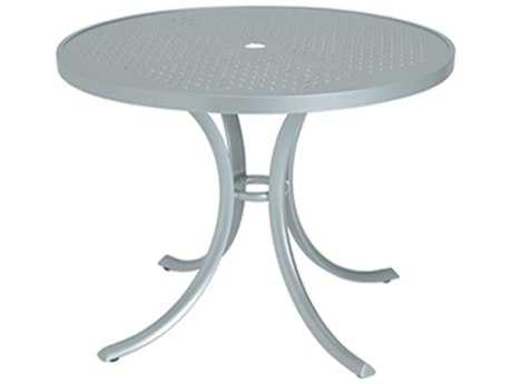 Tropitone Boulevard Aluminum 42 Round Dining Table with Umbrella Hole TP1842SBU