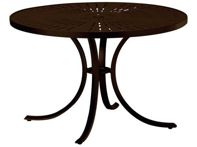 Tropitone La Stratta Aluminum 42 Round Dining Table with Umbrella Hole