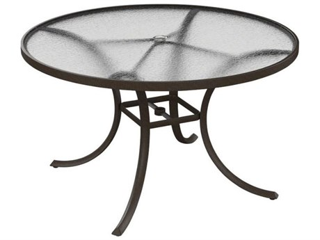 Tropitone Cast Aluminum 48 Round Acrylic Dining Table with Umbrella Hole
