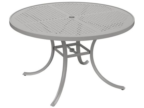 Tropitone Patterned Boulevard Aluminum 48''Wide Round Dining Table with Umbrella Hole