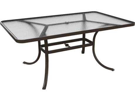 Tropitone Cast Aluminum 66 x 40 Rectangular Acrylic Dining Table with Umbrella Hole