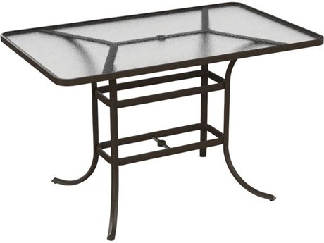 Tropitone Cast Aluminum 66 x 40 Rectangular Acrylic Bar Table with Umbrella Hole