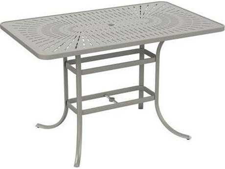 Tropitone Patterned Aluminum – La'stratta 66 x 40 Rectangular Bar Umbrella Table