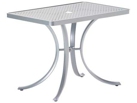 Tropitone Boulevard Aluminum 36 x 24 Rectangular Dining Table with Umbrella Hole