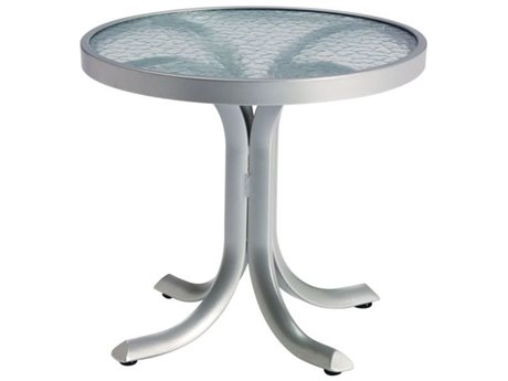 Tropitone Acrylic & Glass Cast Aluminum Round End Table