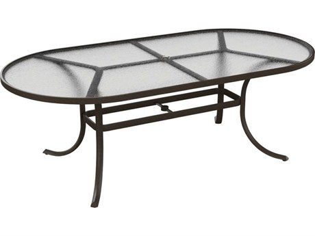 Tropitone Cast Aluminum 84 x 42 Oval Acrylic  Dining Table with Umbrella Hole