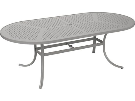 Tropitone Patterned Aluminum – Boulevard 84 x 42 Oval Dining Umbrella Table
