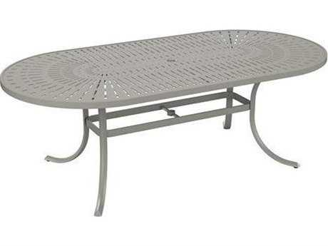Tropitone Patterned Aluminum – La'stratta 84 x 42 Oval Umbrella Table