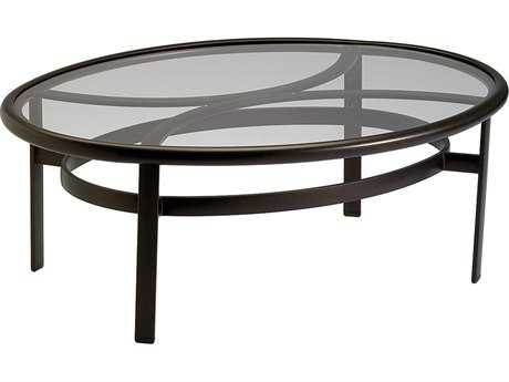 Tropitone Glass Cast Aluminum 49''W x 37''D Oval Elliptical Coffee Table PatioLiving