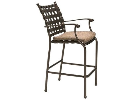 Tropitone Sorrento Cross Strap Extruded Aluminum Bar Stool with Seat Pad