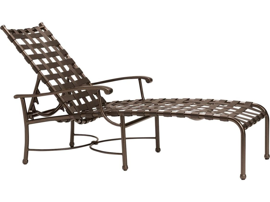 Tropitone sorrento cross strap extruded aluminum chaise for Aluminum strap chaise lounge