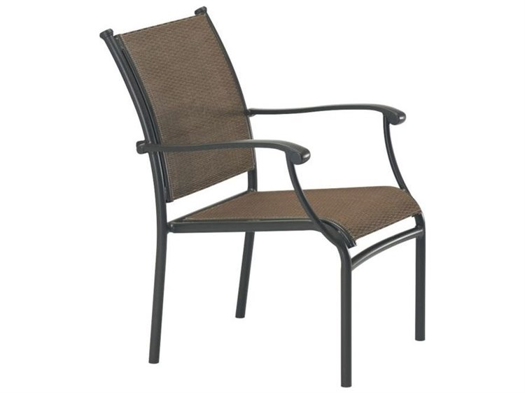 Tropitone Sorrento Relaxed Sling Extruded Aluminum Dining Arm Chair PatioLiving